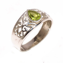 Silver Peridot Gemstone Ring (925 Sterling)