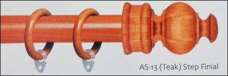 AS-13 (Teak) Step Finial Teak Wood Curtain Rods and Brackets