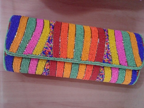 Multi Color Beaded Ladies Clutch Bags