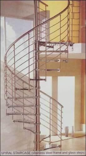 Spiral Staircase Stainless Steel Frame And Glass Steps