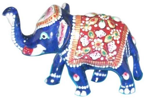 Metal Meena Kari Elephant Figurine