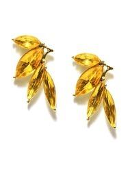 Dress Berry Yellow Flower Shaped Crystal Stud Earring