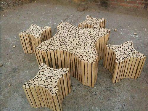 Star Handmade Wooden Log Coffee Table