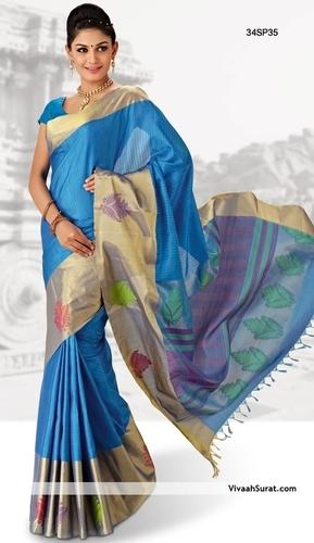 Brisk Sky Blue Kanchipuram Silk Saree