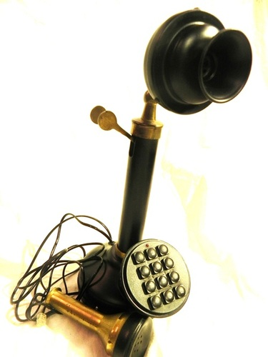 Black Candlestick Push Button Telephone