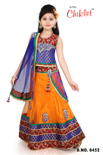 Chaniya Choli Blue With Orange For Girls