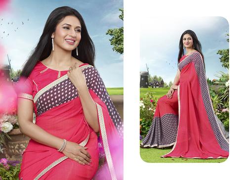 Pink And Grey Color Printed Saree