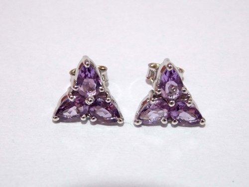 Amethyst Stud Earrings 925 Sterling Silver in  Sohna Road