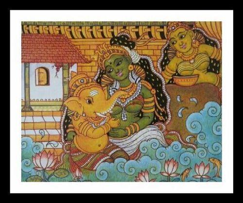 Ganesha With Parvathi Painting