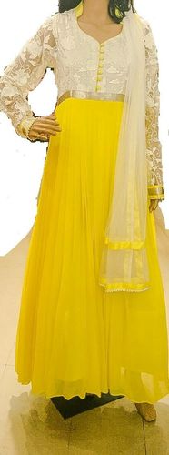 White And Yellow Pleated Salwar Kameez