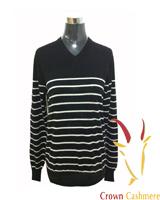 Striped V Neck Cashmere Sweater