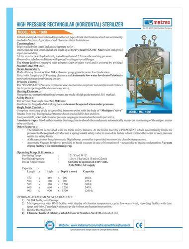 High Pressure Rectangular Sterilizer