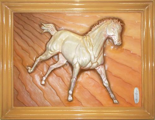 Horse Metal Relief Sculpture