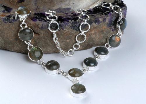 Black Rainbow Silver Necklace in  Johari Bazar
