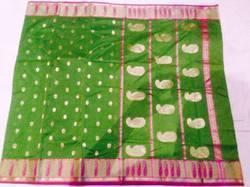 Green Print Chanderi Silk Sarees