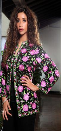 Pink Flowers Embroidered Black Jacket in  Nariman Point