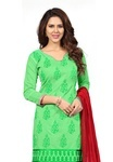 Fabdeal Party Wear Green Colored Chanderi Silk Dress Suit
