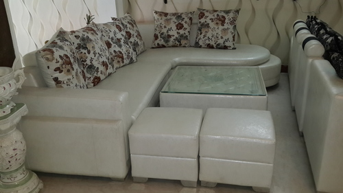 L-Shaped Sofa Sets With Puffy