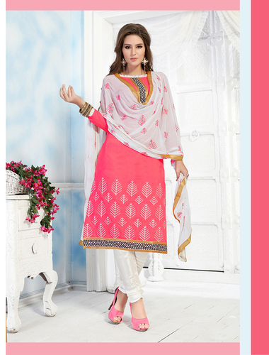 Peach And White Chanderi Embroidery Straight Suit