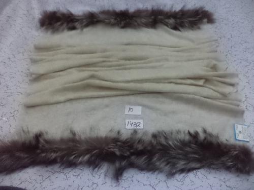 Pure Wool With 2 Side Fur Trim Shawls
