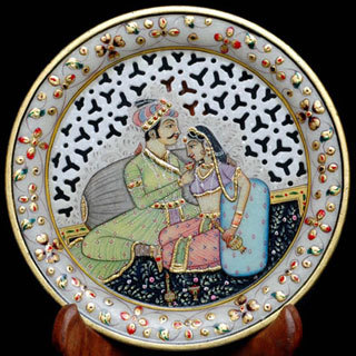 Marble Painted Cut Work Round Plate