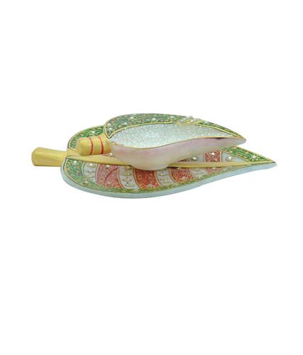 Marble Shankh Chopra With Leaf Marble Plate