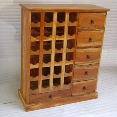 Wooden 24 Bottle Holder and 6 Drawer Rack Cabinet