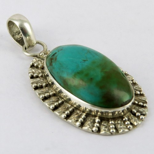 Truly Huge Turquoise 925 Sterling Silver Pendant