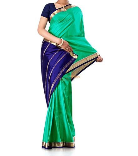 Contrast Green Pure Crepe Silk Saree