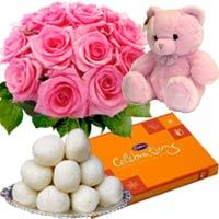 One Teddy With Chocolates 12 Pink Roses Bouquet And Rasgullas