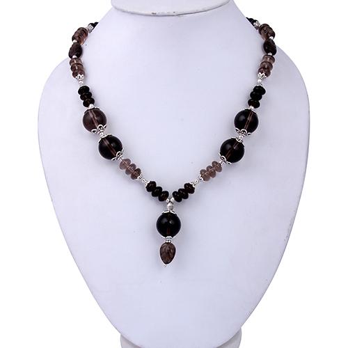 Smoky Quartz Gemstone Beads18 Inches Necklace