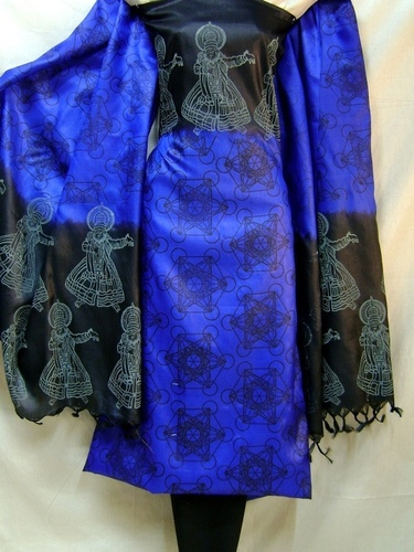 Tussar Silk Double Dyed Block Printed Salwar Kameez Fabric in  Avenue Road