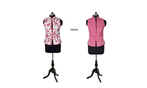 Cotton Quilted Jacket Reversible Sleeveless