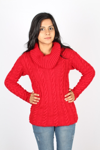 Ladies Knitted Cowl Neck Pullover in  E-407 Ivory Tower Sector 70