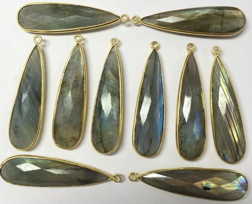 Labradorite Pears Silver Bezel Set
