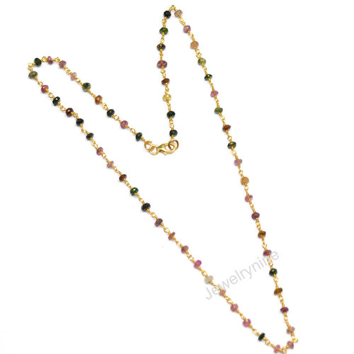 Tourmaline Gold Plated Necklace in  Himmat Nagar