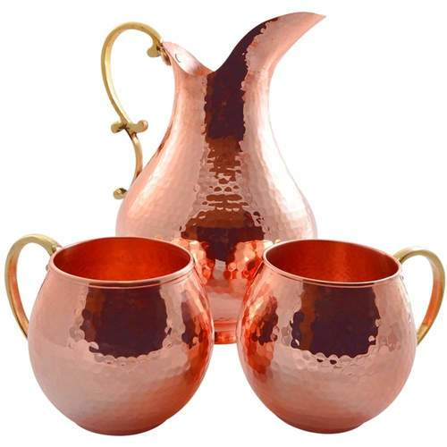 Copper Water Pitcher With Mug