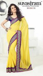 Ladies Yellow Sarees
