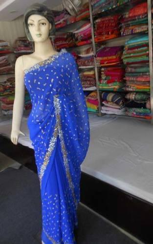 Blue Fashionable Zari Saree