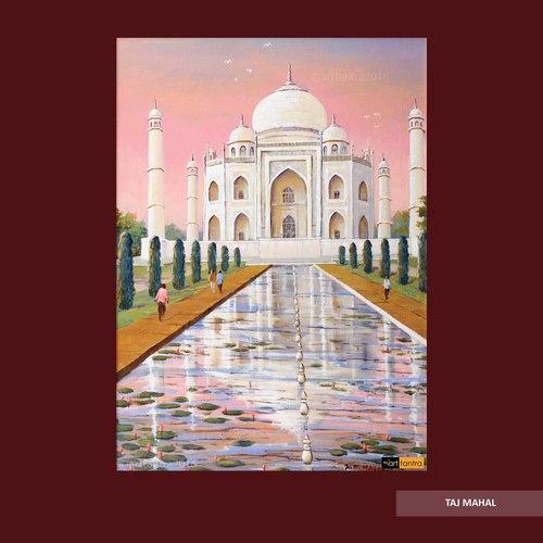 Unframed Tajmahal Canvas Painting
