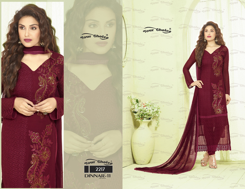 Unstitched Pure Chiffon Suit in   Near Dr World Mall