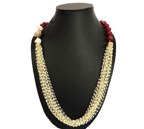 Ruby Pearl Tassel Necklace