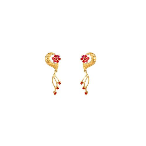 Yellow Gold Ruby Drop Earrings In Sipcot Estate