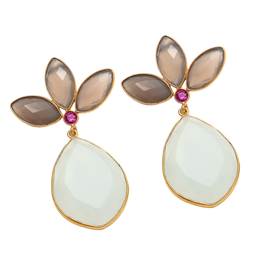 Milky And Gray Chalcedony Gemstone Earrings