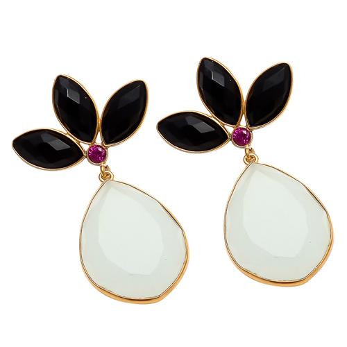 Milky Chalcedony And Black Onyx Gemstone Earrings