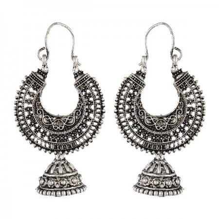 Ethnic Silver Color Metal Hoop With Jhumki Earrings
