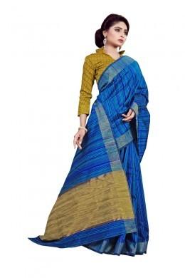 Blue Traditional Wear Cotton Saree