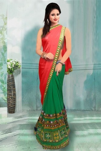 Red and Green Party Wear Georgette Saree