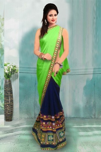 Green And Blue Party Wear Georgette Saree