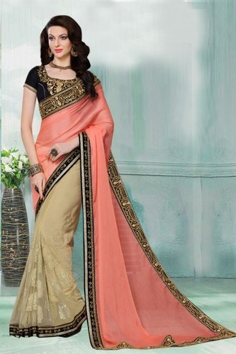 Beige Party Wear Faux Chiffon And Net Saree